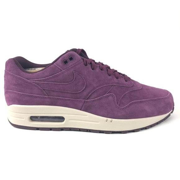 Nike Air Max 1 Premium Bordeaux Shoes 875844 602 NWT